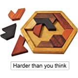 KINGZHUO Hexagon Tangram Classic Handmade Wooden Puzzle for Children and Adults Challenging Puzzles Brain Teasers for Adults Puzzles Portable Family Puzzles All Ages Brain Games (Jigsaw Puzzle)