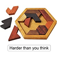 KINGZHUO Hexagon Tangram Puzzle Wooden Puzzle for Children and Adults Challenging Puzzles Wooden Brain Teasers Puzzle…