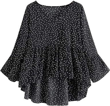UK Womens Oversized Polka Dot Flared Sleeve Baggy Ruffled Tops Shirt Mini Dress