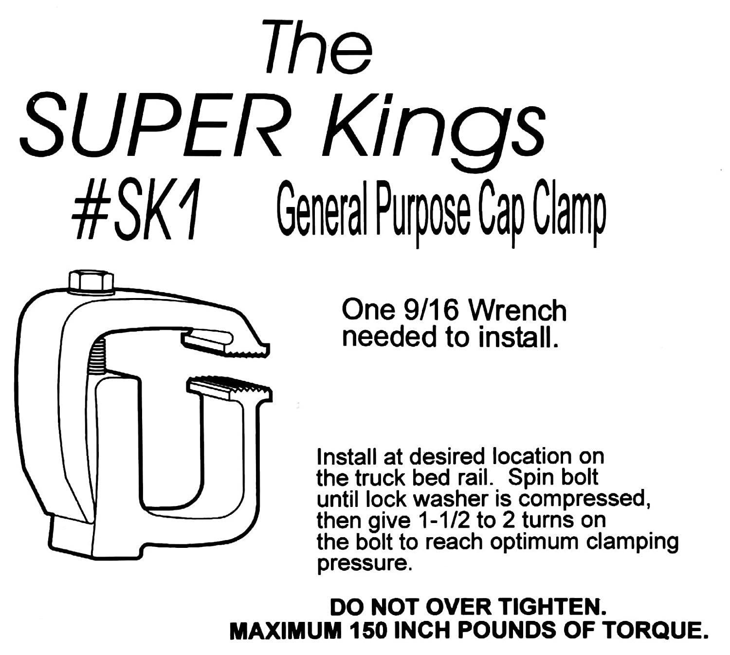 API SK1 Mounting Clamps for Truck Caps Camper Shells 4 pack Automated Products International