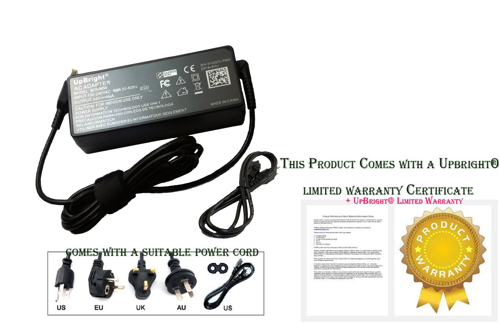 UpBright NEW Global AC / DC Adapter For Lenovo IdeaCentre 300s-11IBR 300s-111BR 90DQ0033US Desktop Computer Power Supply Cord Cable PS Battery Charger Mains PSU