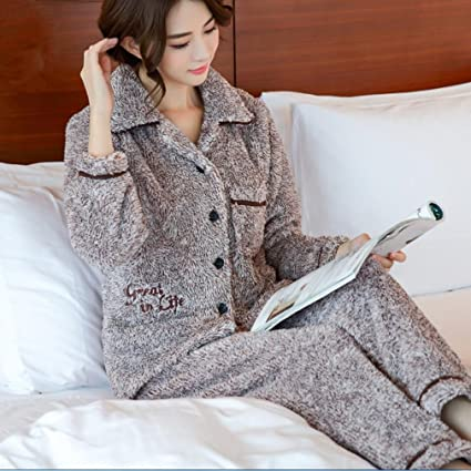 Pajamas Womens Mens Sleepwear Long Sleeves Pajama Set With Pants Couple Bathrobe 100% Flannel Spring