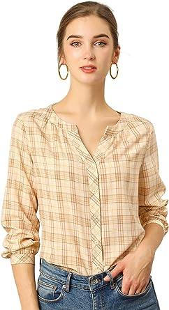 Allegra K Camisa Vintage Blusa Suelta con Cuello Redondo Cuadros Retro Botón Arriba para Mujeres: Amazon.es: Ropa y accesorios