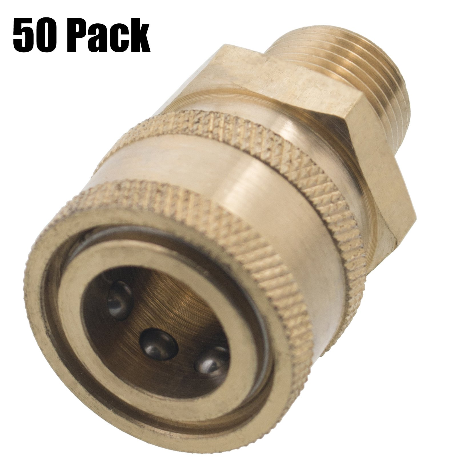 Erie Tools 50 3/8in. MPT Male Brass Socket Quick Connect Coupler 4000 PSI 10 GPM for Pressure Washer Nozzle Gun Hose Wand