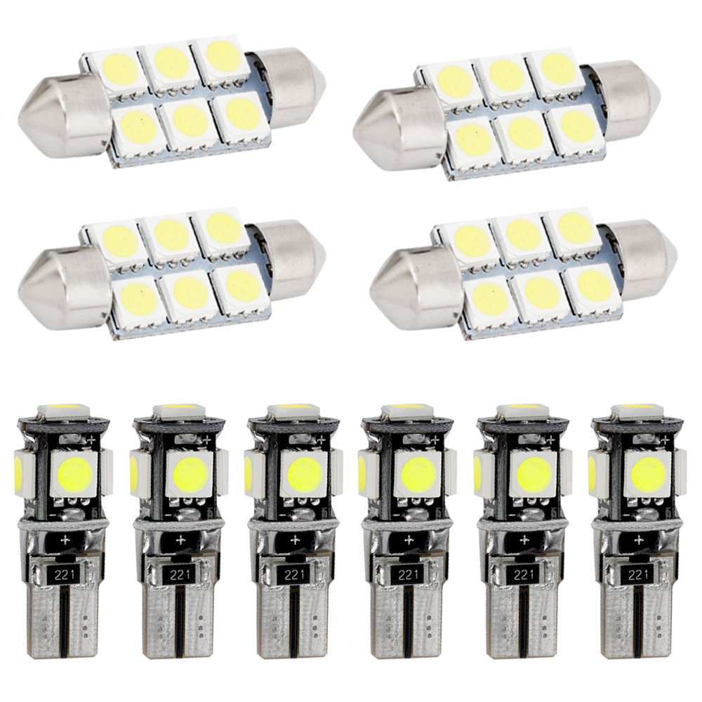 Muchkey LED Auto Lampadina Canbus Sensa Errore LED luci dellautomobile Bulb per A3 LED per la Luce Interna Dellauto Bianco 8 Pezzi