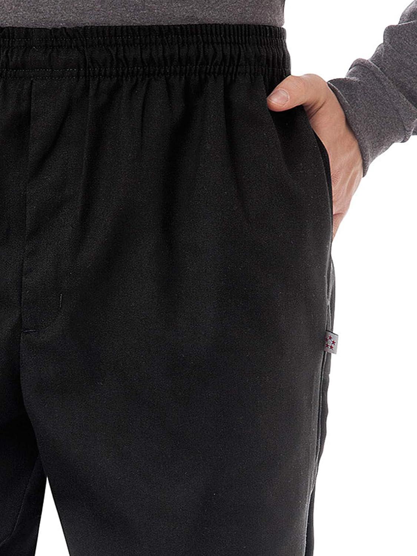Five Star Chef Apparel 18101 Mens Zipper Front Chef Pant Black L