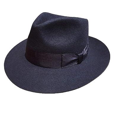 3f5c4c4ea03 Amazon.com: Classic Deep Blue Wool Fur Felt Fedora Hat Gangsters ...