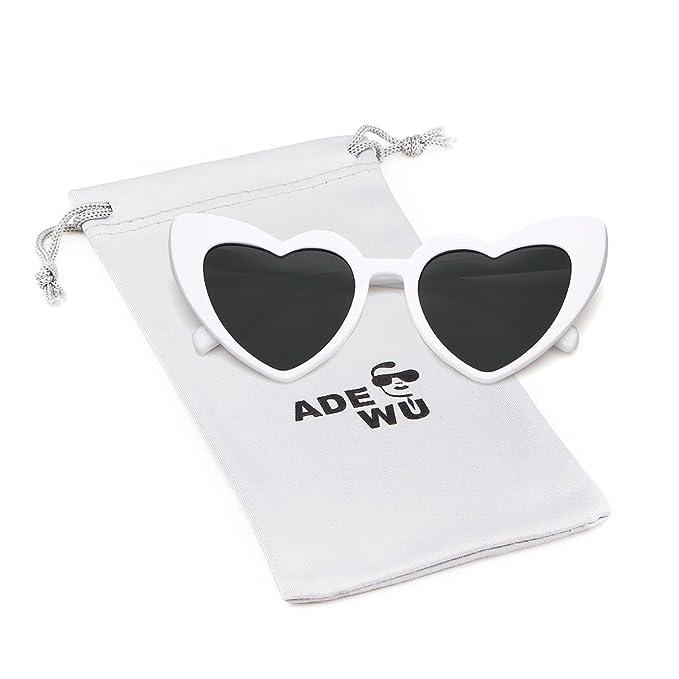 9c31999196 ADEWU Gafas de sol en forma de corazón Chicas Gafas retro de moda para mujer  (A - Blanco (polarizado)): Amazon.es: Ropa y accesorios