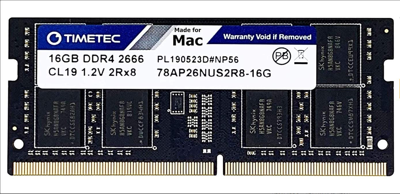 Timetec Hynix IC Compatible with Apple 16GB DDR4 2666MHz PC4-21300 SODIMM Memory Upgrade for Mac Mini 8,1 Late 2018 and iMac 19,1 w//Retina 5K 27-inch Early 2019 16GB