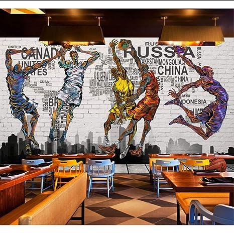 Amazon.com: Dalxsh Vintage Brick Wallpaper 3D Graffiti Basketball