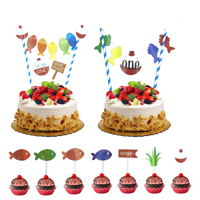 Terrific 11 Pcs The Big One Cake Topper Gone Fishing Birthday Cupcake Funny Birthday Cards Online Eattedamsfinfo