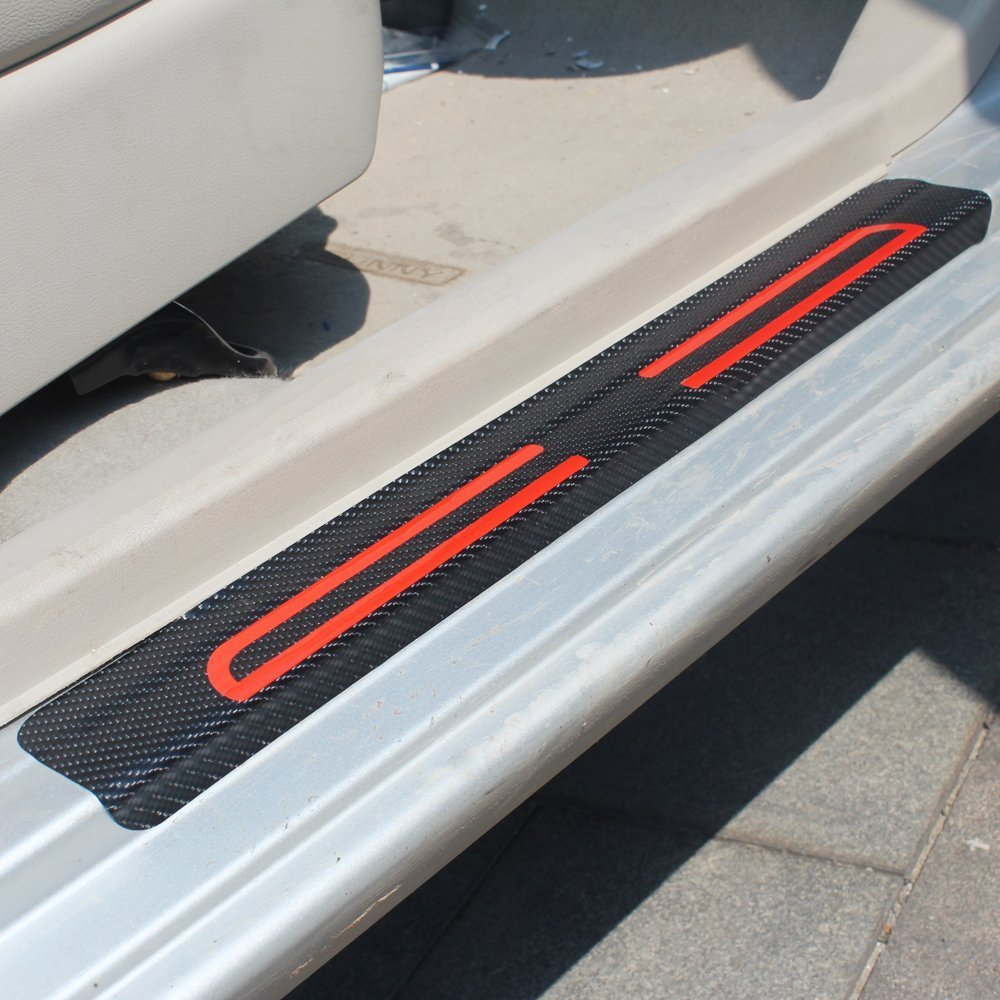 For Dodge Ram Grand Caravan Charger Vinyl Door Sill Protector Red 4pcs
