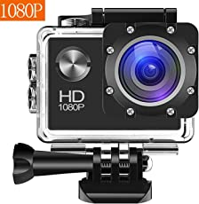 Action Camera, Bekhic 1080P HD 12MP Waterproof Cam 140 Ultra Wide-Angle Lens with Mounting Accessories Kit for Cycling Swimming Climbing Diving (Black)