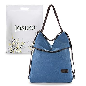 e500965c5a8b7 JOSEKO Canvas Tasche Segeltuch Schultertasche Damen Rucksack Handtasche  Vintage Damen Umhängentasche für Reise Outdoor Schule Einkauf
