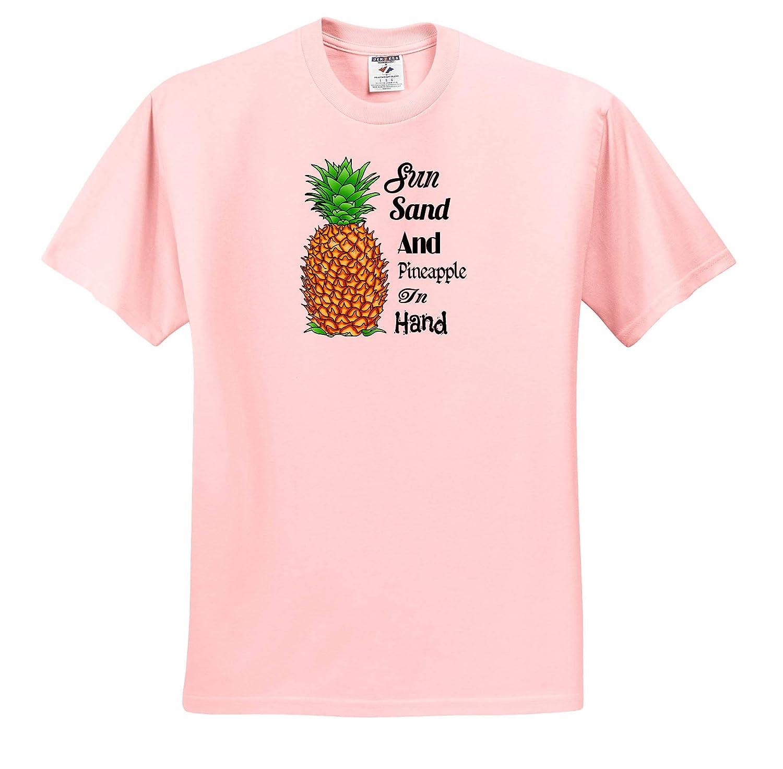 T-Shirts Fun Tropical Beach Quote Beach Sun Sand and Pineapple in Hand 3dRose Macdonald Creative Studios