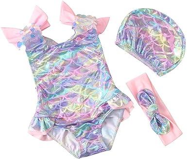 Baby Toddler Girl Bikini with Hat Swimsuit Set Ruffle Tulle Swimwear Beach Bathing Suit 3PCS Outfits