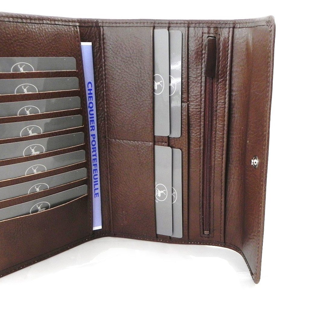 Wallet + checkbook holder leather ''Frandi'' brown - ecological york. by Les Tresors De Lily (Image #7)