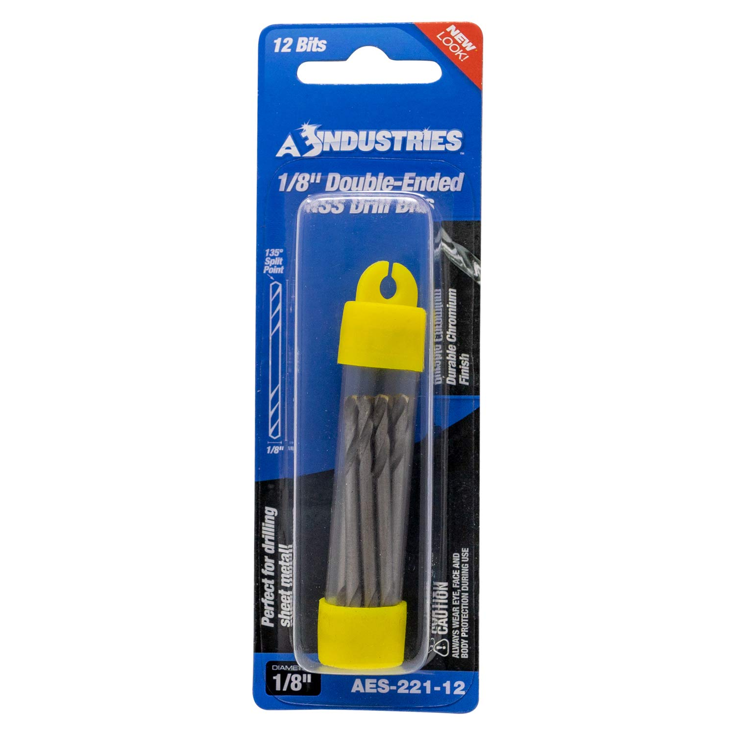 AES Industries 1//8 Double Ended High Speed Steel Stubby Drill Bits with Titanium Coating 12 Bit Pack