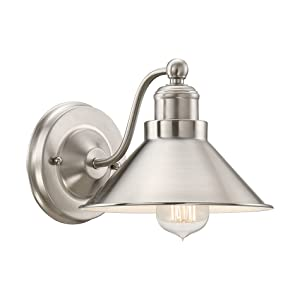 """Kira Home Welton 8.5"""" Modern Industrial Wall Sconce, Brushed Nickel Finish"""