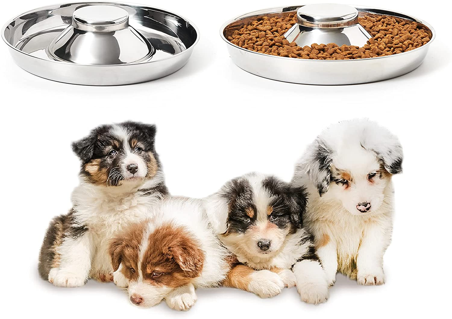 Thankspaw Stainless Steel Puppy Bowls, Set of 2 Puppy Feeder, Dog Food and Water Bowl, Food Feeding Weaning for Small Medium Large Dogs, Pets, M