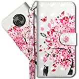 "Moto X4 Wallet Case, Motorola X4 Premium PU Leather Case, COTDINFORCA 3D Creative Painted Effect Design Full-Body Protective Cover for Motorola Moto X4 2017 (5.2"" inch). PU- Tree Cat"