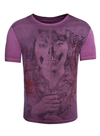 Akito Tanaka Herren T-Shirt Geisha Skull Frau Totenkopf Printshirt  Asiatisch  Amazon.de  Bekleidung e7508e81f2