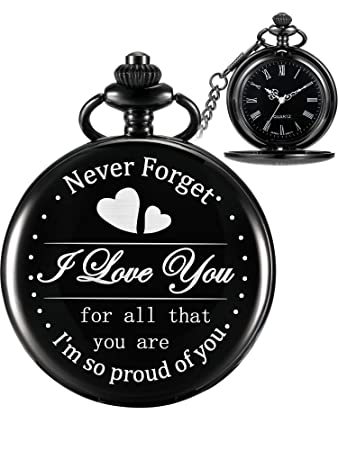 Hicarer Engraved Pocket Watch for Dad Daughter Son Husband, Gift for  Birthday Christmas Holiday -