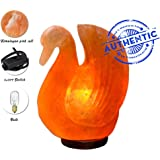 Rock Himalayan Pink Salt Lamp - Wood Base with On and Off Switch/Dimmer - 5-7 Lbs - Bulb with 6-8 Inches UL Electric Corded (Duck)