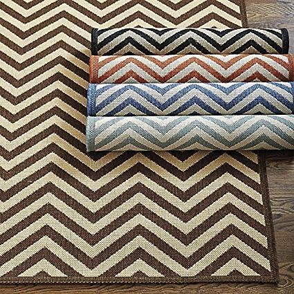 Chevron Stripe Indoor/Outdoor Rug   Black With Sand 7u002710u0026quot; X 10