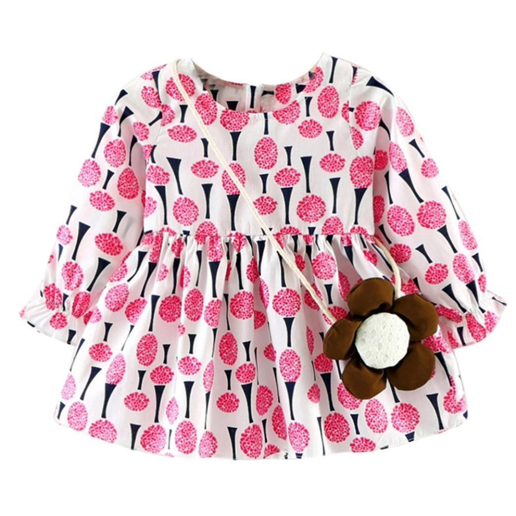 Moonuy Tout-petit bébé filles robe à manches longues fleurs avec sac Princesse Robes Casual avec sac