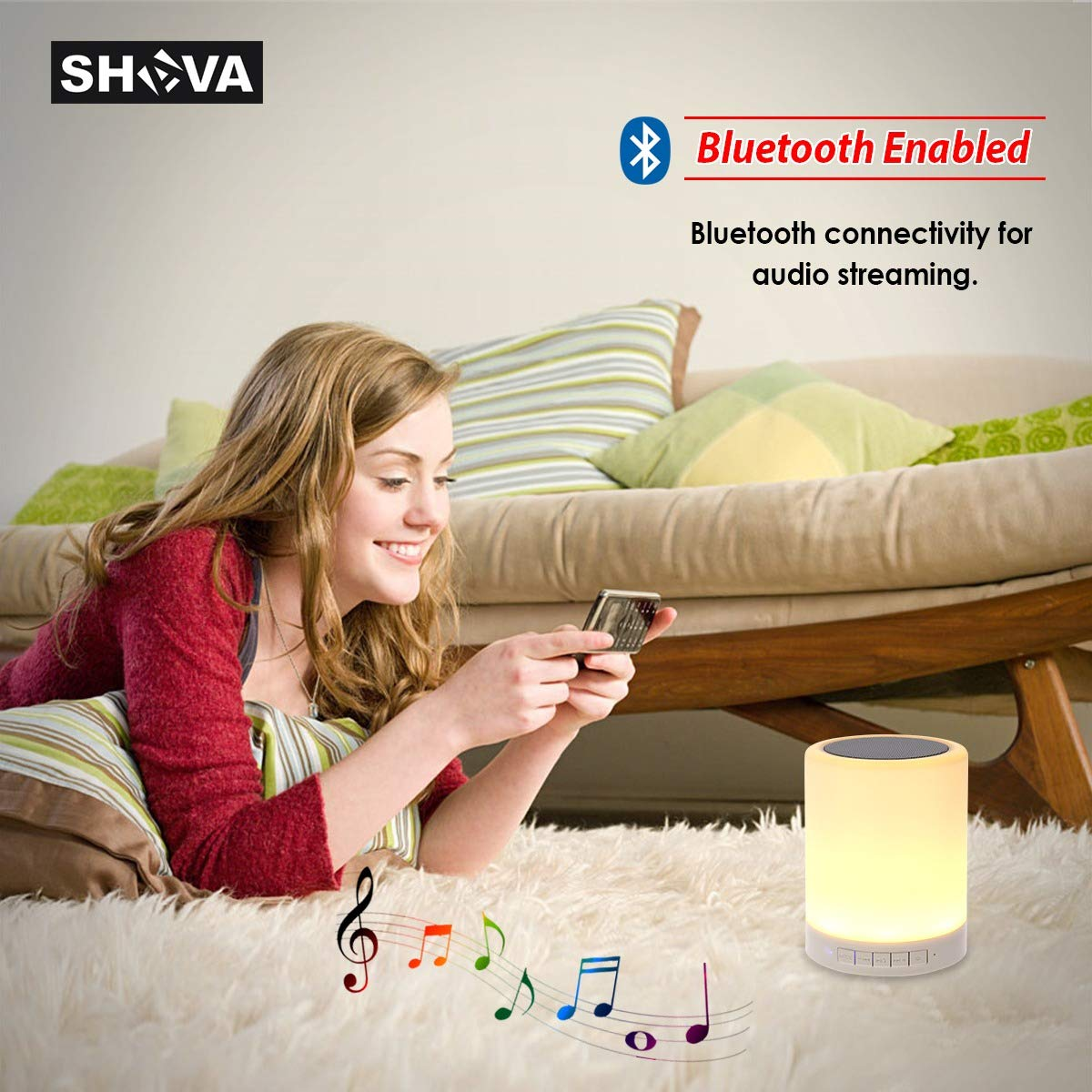 SHAVA Night Light Bluetooth Speaker, Portable Wireless Bluetooth Speakers, Touch Control, Color LED Speaker, Bedside Table Light, Speakerphone/TF Card/AUX-in Supported (White), 7
