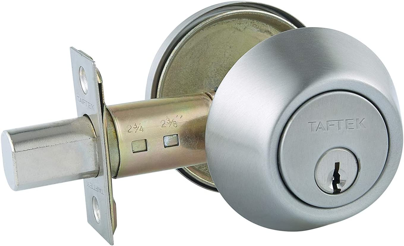 Taftek Amd101 Single Cylinder Deadbolt With Anti Bump In Satin Nickel Amazon Com