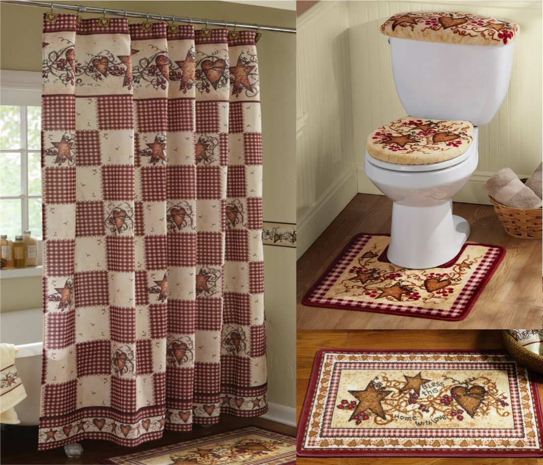 Amazon.com : KnlStore Country Primitive Hearts and Stars Bathroom ...