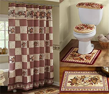 KnlStore Country Primitive Hearts And Stars Bathroom Decor Set Shower Curtain Floor Mat 3 Piece Commode