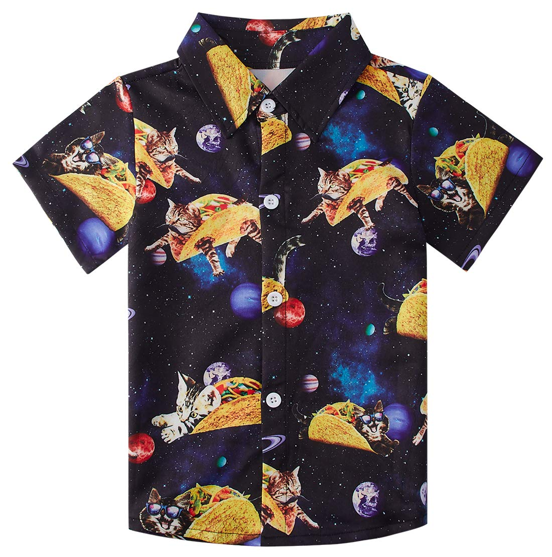 uideazone Toddler Boys Cats in Galaxy and Sandwich Cartoon Print Shirts Children's Short Sleeve Polo Shirt Hawaiian Party Wear Clothing (Size 7-8T)