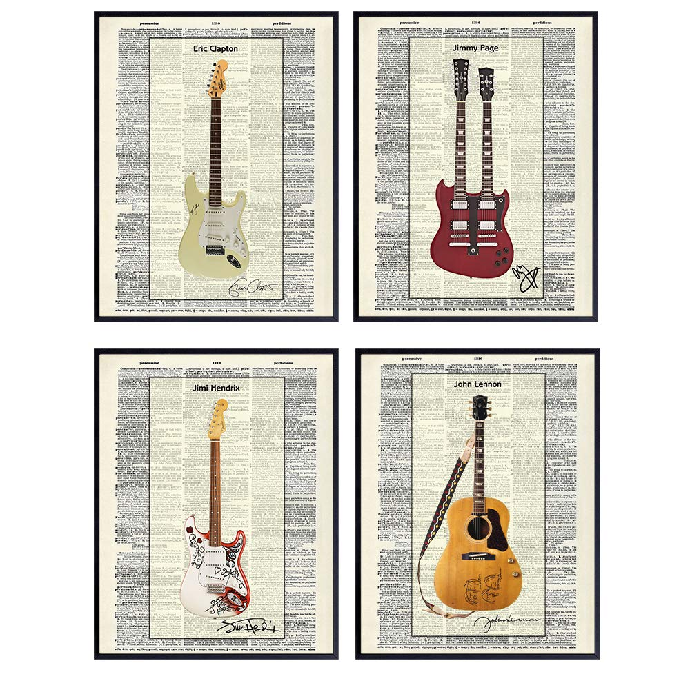Famous Musicians Guitar - Unframed Dictionary Wall Art Print - Great Gift for Music and Rock n Roll Fans - Cool Home Decor - Lennon, Hendrix, Page, Clapton -Ready to Frame Set of 4-8x10 Vintage Photo