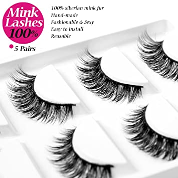 207821f8c6f Amazon.com : Eliace 5 Pairs/Pack 3D Mink Fur Fake Eyelashes 100% Siberian  Mink Fur False Eyelashes Natural For Makeup, Mink 3D Lashes pack, ...