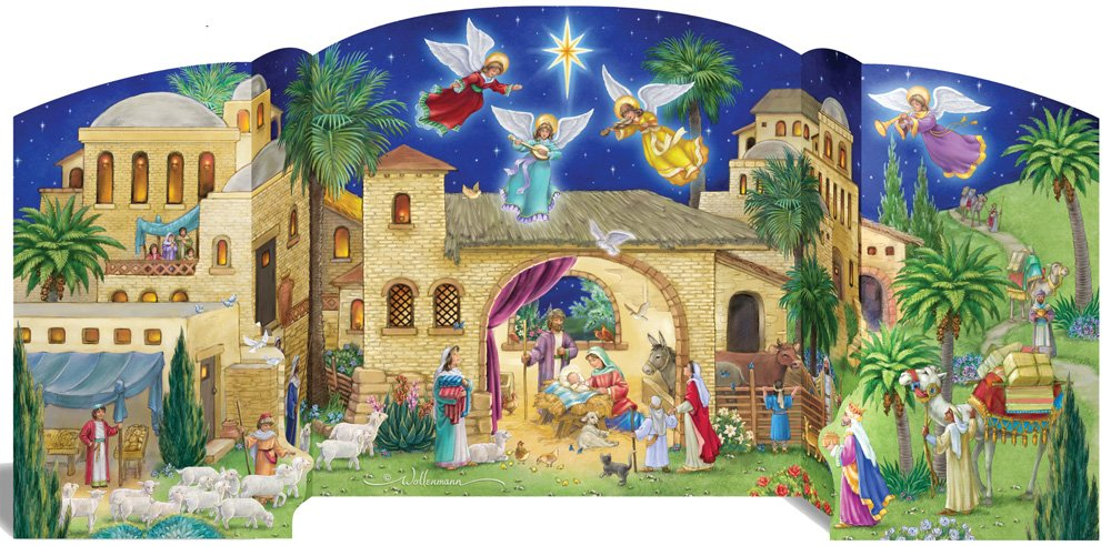 Vermont Christmas Company Bethlehem Nativity Free Standing Advent Calendar with Nativity Story