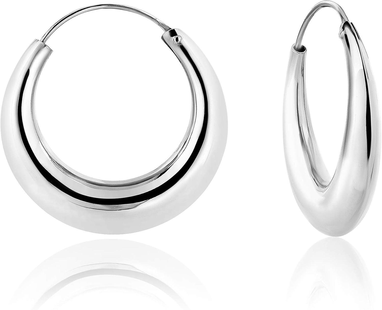 DTP Silver - Pendientes de Aro de mujer - Creoles gruesos - Plata 925 - Espesor 3.5, 4.5, 5.5, 7.5 mm - Diámetro 15, 18, 24, 30, 40, 50, 60 mm