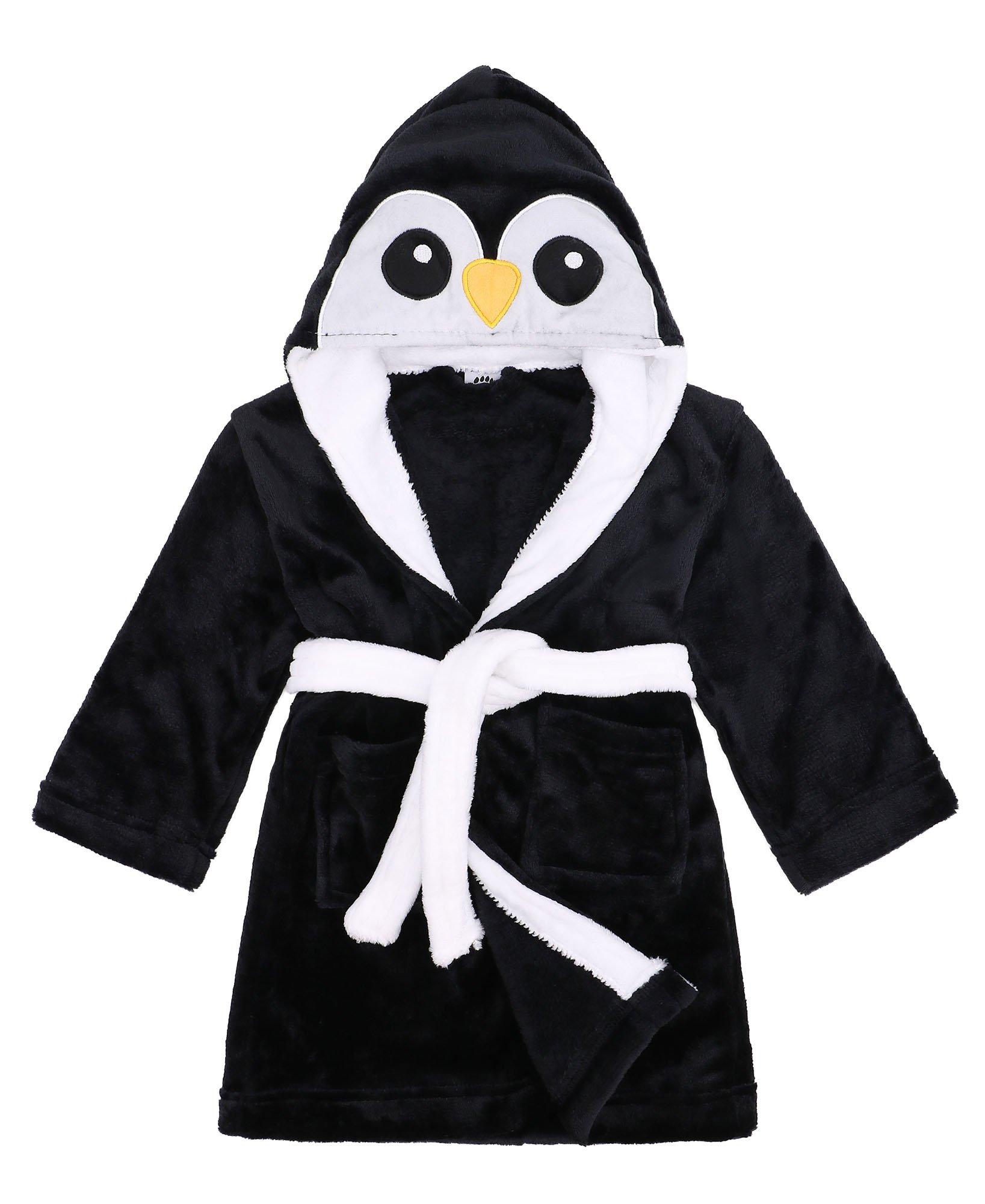 Children Robe Animal Adventure Soft Hooded Terry Bathrobe,Penguin,S(1-3 Year)