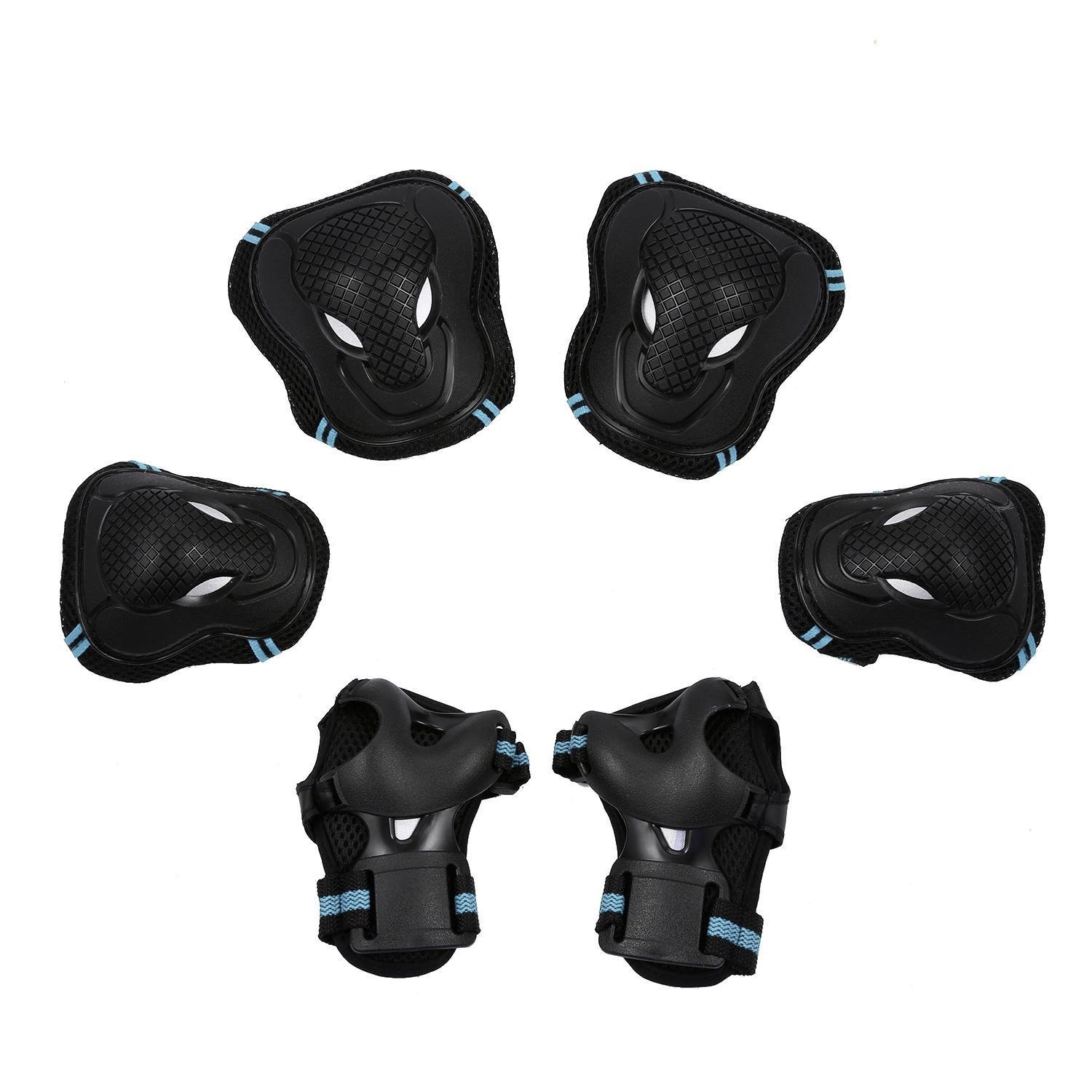 Benlet Sports Protective Gear Safety Pad Safeguard (Knee Elbow Wrist) Support Pad Set Equipment for Kids Roller Bicycle BMX Bike Skateboard Protector Guards Pads(Blue, S)