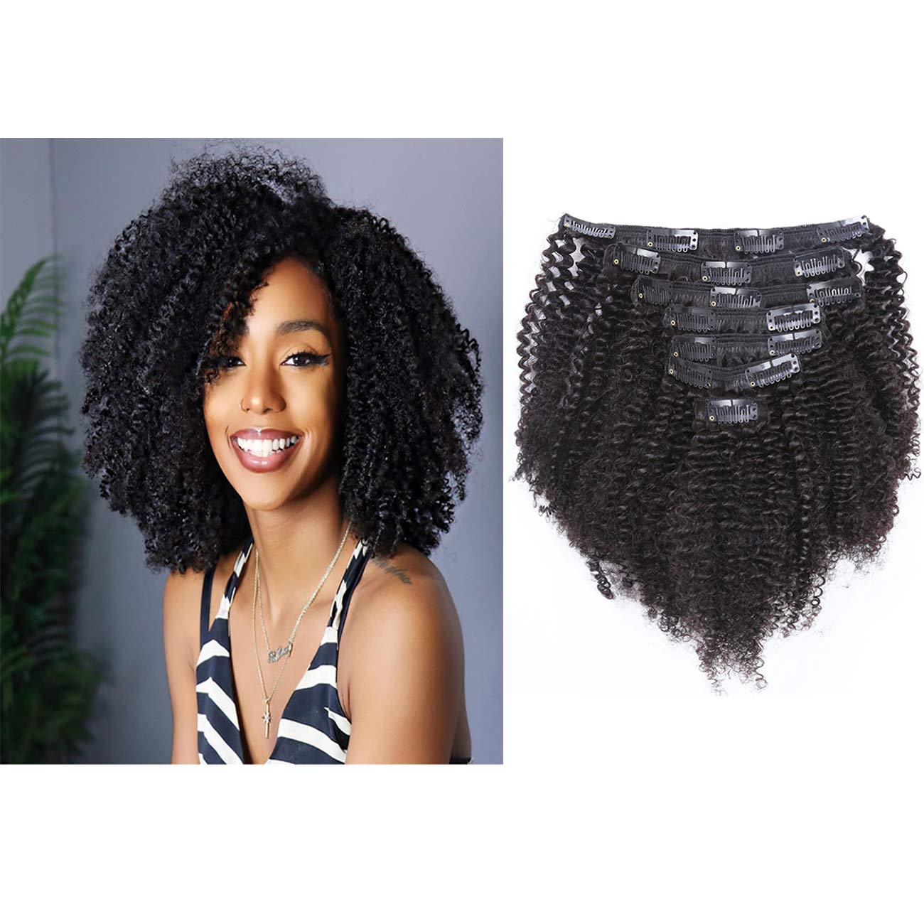 Brazilian Real Human Hair Clip in Extensions Afro Kinkys Curly Clip Ins Brazilian Double Weft Remy Hair African Americans Natural Virgin Hair 8A Full Head For Black Women 7pcs/set 120gram/set 16 Inch by Loxxy