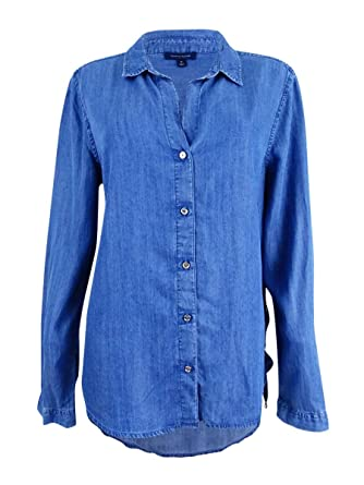 6fb83d0d Tommy Hilfiger Lace-up Chambray Shirt at Amazon Women's Clothing store: