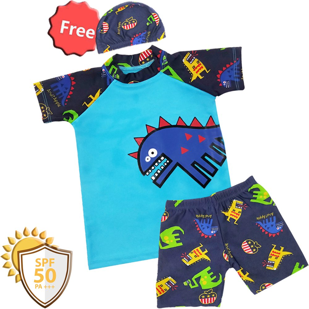 boy Sunsuit Swimwear Sets (M/2-3Y, Blue- Dinosaur)
