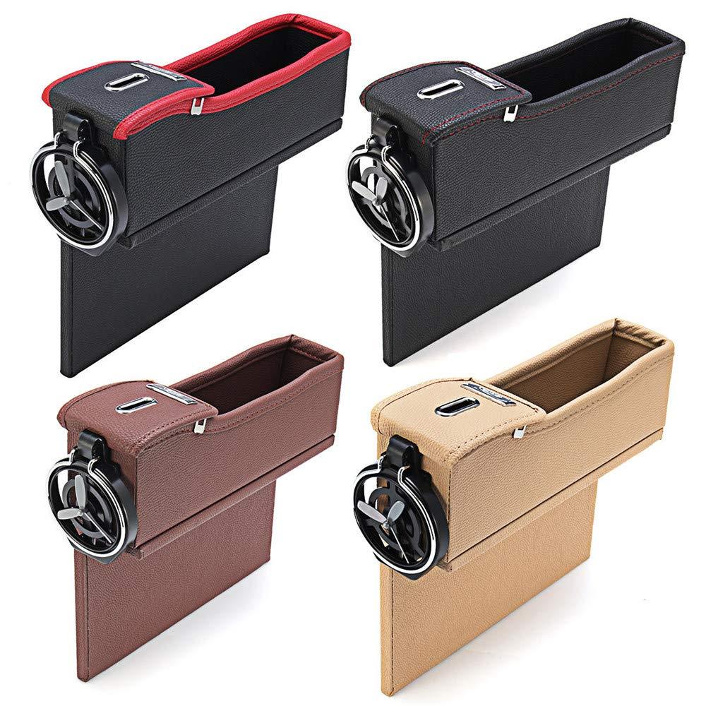 Black, Left WeeDee Leather Car Seat Crevice Storage Bag Box Money Pot Beverage Holder Car Seat Pocket Organizer