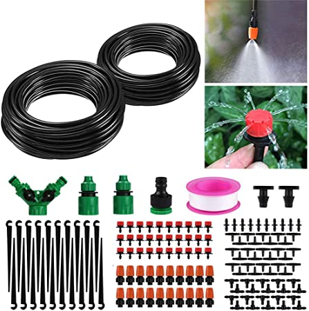 Manually Drip Irrigation Kit with Garden Pipe for Flower Bed Patio Greenhouse
