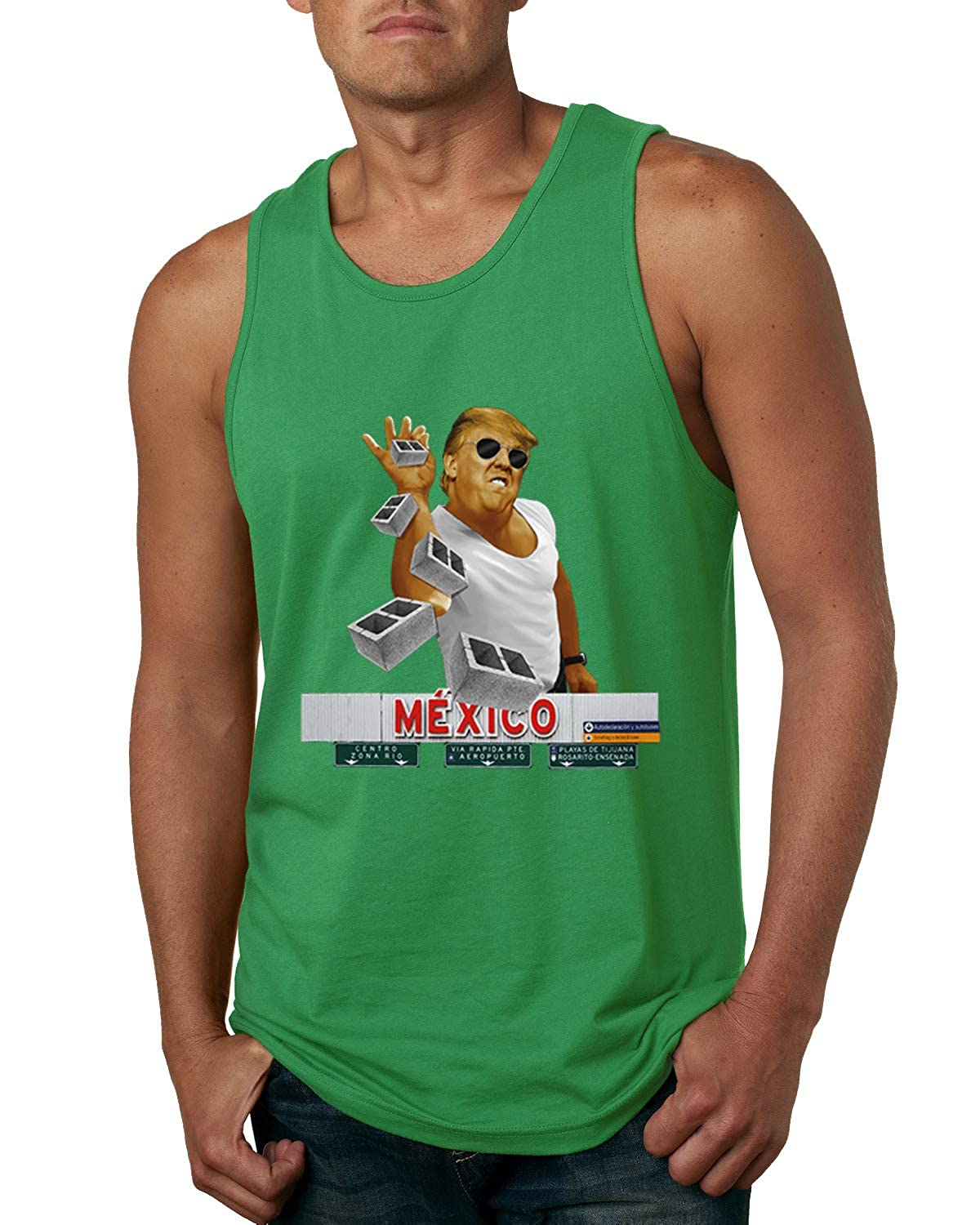 Mens Humor Graphic Tank Top Trump Salt Bae Wall Funny Offensive