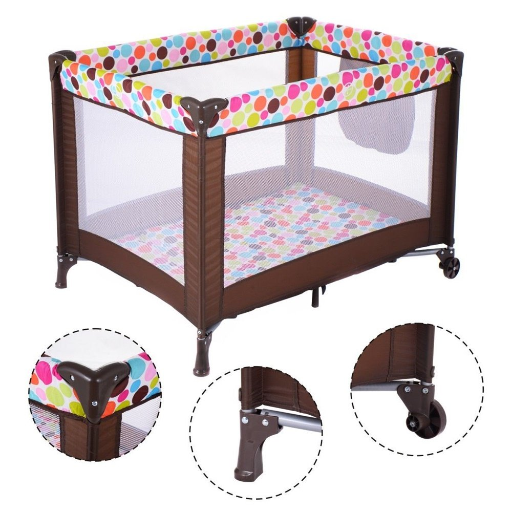 Playard Baby Crib Bassinet Travel Portable Bed Playpen Infant Toddler Foldable Anumochi