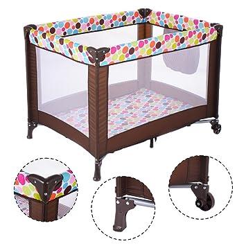 PLAYARD BABY CRIB Portable Bed Travel Playpen Infant Toddler Foldable Wheels