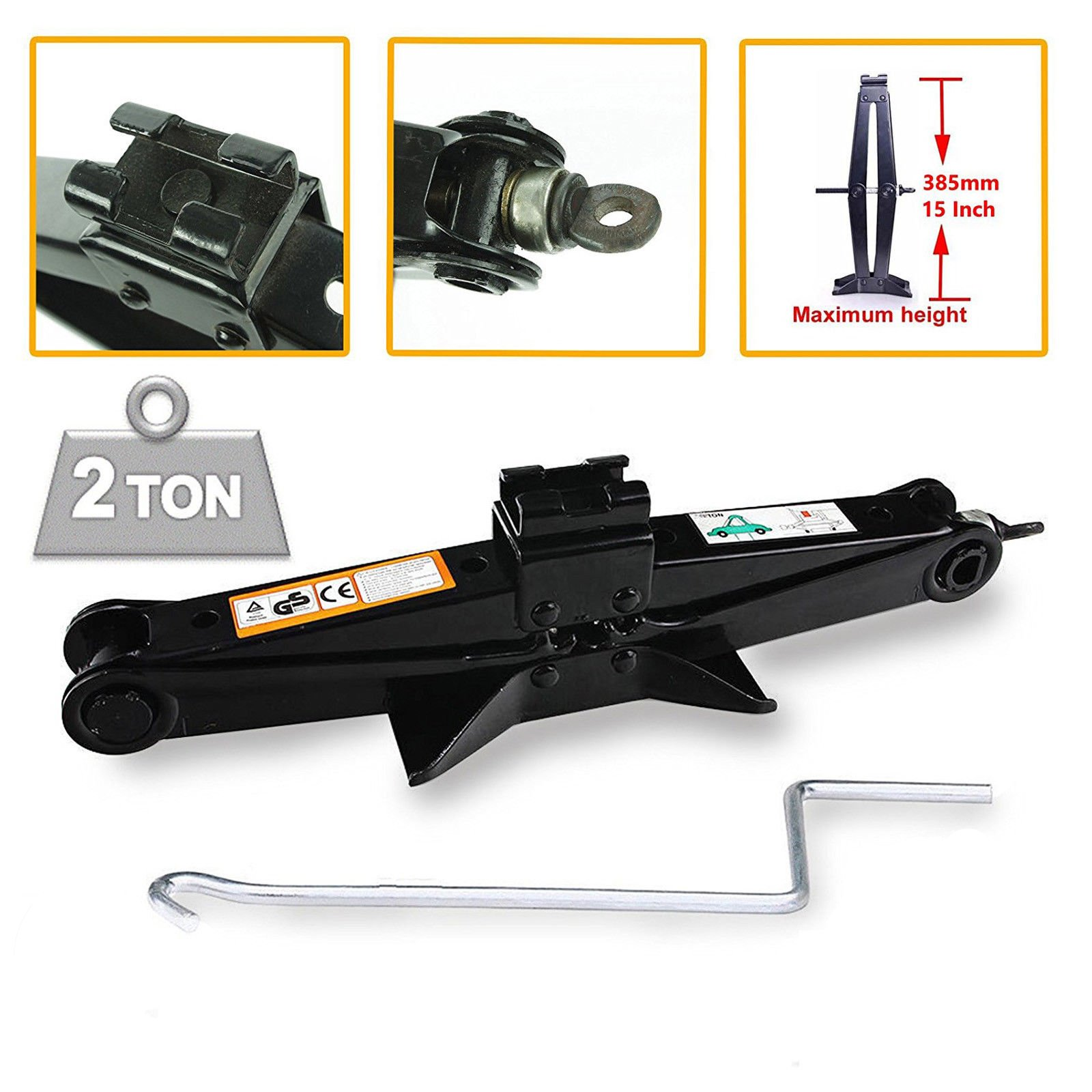 Scissor Jack 2 Tonne For Car Van Travel Emergence Mechanical Lifting Lift Tool Portable With Crank Speed Handle